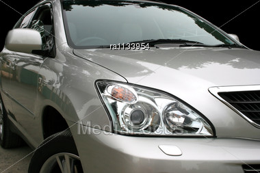 Gray Car With Light Reflection. Stock Photo