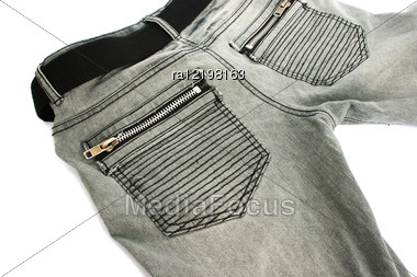 Gray Jeans On White Background. Stock Photo