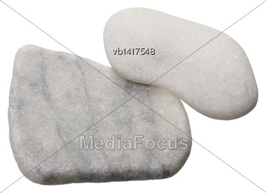 Gray Marble Pieces, Isolated On White Background Stock Photo