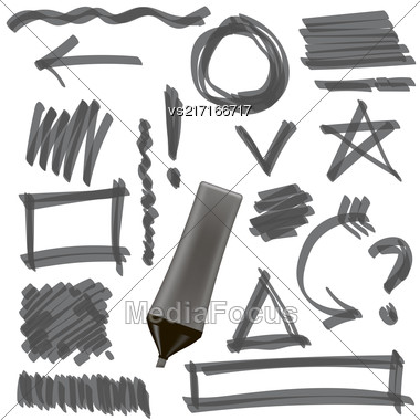 Gray Marker Isolated On White Background. Set Of Graphic Signs. Arrows, Circles, Correction Lines Stock Photo