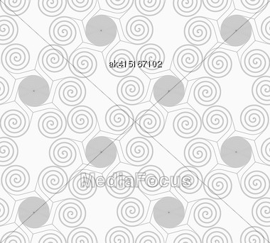 Gray Seamless Geometrical Pattern. Simple Monochrome Texture. Abstract Background.Slim Gray Small Striped Spirals Forming Flowers Stock Photo