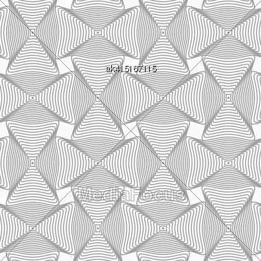 Gray Seamless Geometrical Pattern. Simple Monochrome Texture. Abstract Background.Slim Gray Wavy Rectangles With Offset Stock Photo