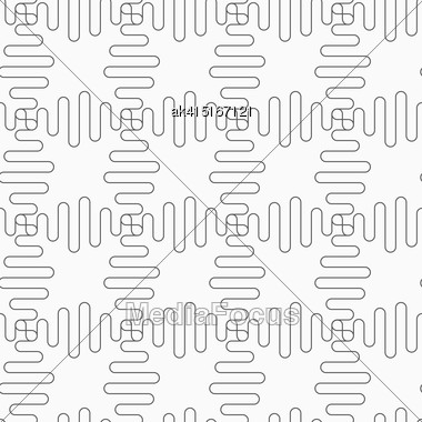 Gray Seamless Geometrical Pattern. Simple Monochrome Texture. Abstract Background.Slim Gray Waves Forming Square Grid Stock Photo