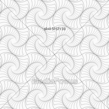 Gray Seamless Geometrical Pattern. Simple Monochrome Texture. Abstract Background.Slim Gray Striped Twisted Squares Stock Photo