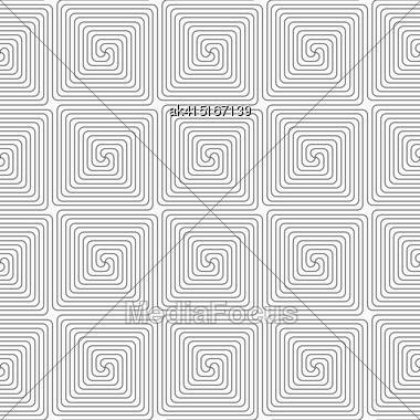 Gray Seamless Geometrical Pattern. Simple Monochrome Texture. Abstract Background.Slim Gray Square Spirals Stock Photo