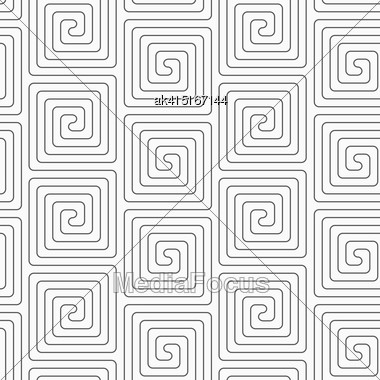 Gray Seamless Geometrical Pattern. Simple Monochrome Texture. Abstract Background.Slim Gray Vertical Square Spirals Stock Photo