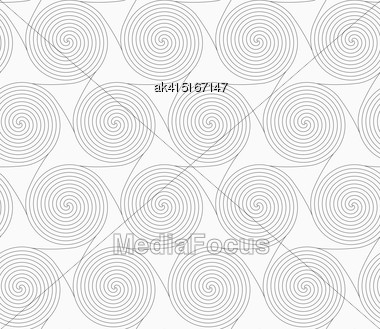 Gray Seamless Geometrical Pattern. Simple Monochrome Texture. Abstract Background.Slim Gray Merging Spirals With Triangles Stock Photo