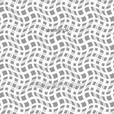 Gray Seamless Geometrical Pattern. Simple Monochrome Texture. Abstract Background.Slim Gray Wavy Squares In Different Sizes Stock Photo