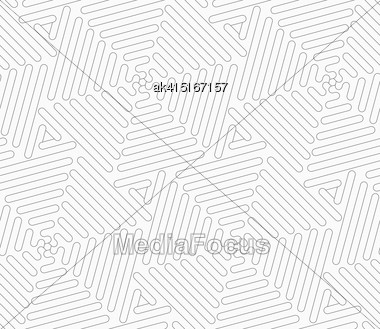 Gray Seamless Geometrical Pattern. Simple Monochrome Texture. Abstract Background.Slim Gray Wavy Triangles Forming Hexagons Stock Photo