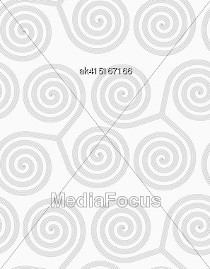 Gray Seamless Geometrical Pattern. Simple Monochrome Texture. Abstract Background.Slim Gray Striped Spirals Three Turn Stock Photo