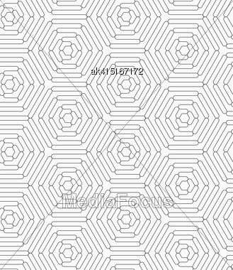 Gray Seamless Geometrical Pattern. Simple Monochrome Texture. Abstract Background.Slim Gray Connecting Wavy Stars Stock Photo