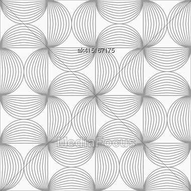 Gray Seamless Geometrical Pattern. Simple Monochrome Texture. Abstract Background.Slim Gray Striped Semi Circles Stock Photo
