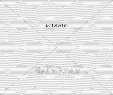 Gray Seamless Geometrical Pattern. Simple Monochrome Texture. Abstract Background.Slim Gray Triangle Spirals Forming Cubes Stock Photo