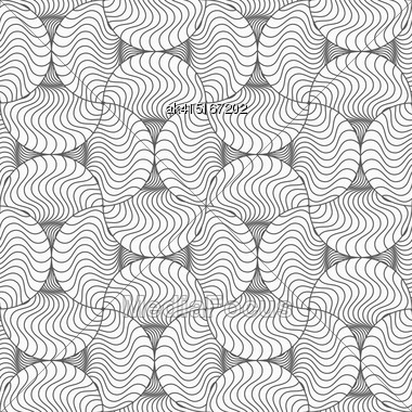 Gray Seamless Geometrical Pattern. Simple Monochrome Texture. Abstract Background.Slim Gray Wavy Striped Pin Will Stock Photo