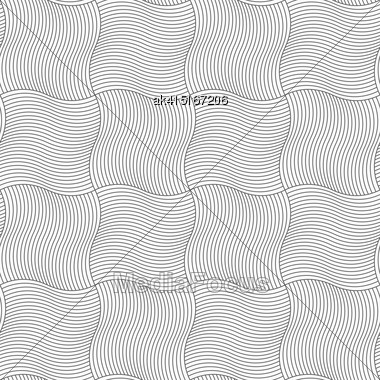 Gray Seamless Geometrical Pattern. Simple Monochrome Texture. Abstract Background.Slim Gray Wavy Sriped Squares Stock Photo