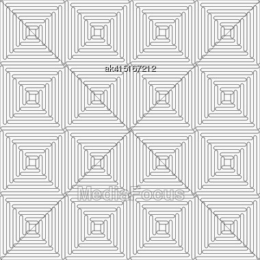 Gray Seamless Geometrical Pattern. Simple Monochrome Texture. Abstract Background.Slim Gray Wavy Squares Stock Photo