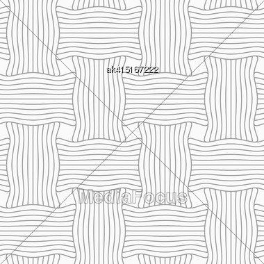 Gray Seamless Geometrical Pattern. Simple Monochrome Texture. Abstract Background.Slim Gray Striped Wavy Rectangles Stock Photo