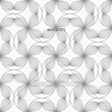 Gray Seamless Geometrical Pattern. Simple Monochrome Texture. Abstract Background.Slim Gray Striped Four Pedal Flowers Connected Stock Photo