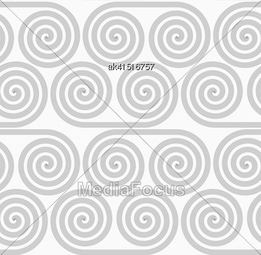 Gray Seamless Geometrical Pattern. Simple Monochrome Texture. Abstract Background.Slim Gray Striped Spiral Rolls Stock Photo