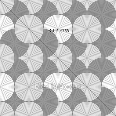 Gray Seamless Geometrical Pattern. Simple Monochrome Texture. Abstract Background.Slim Gray Striped Overlapped Circles Stock Photo