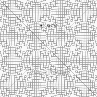 Gray Seamless Geometrical Pattern. Simple Monochrome Texture. Abstract Background.Slim Gray Checkered Wavy Rectangles Stock Photo