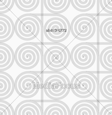 Gray Seamless Geometrical Pattern. Simple Monochrome Texture. Abstract Background.Slim Gray Striped Spirals Crossing Stock Photo