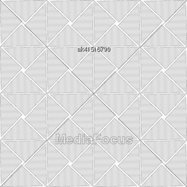 Gray Seamless Geometrical Pattern. Simple Monochrome Texture. Abstract Background.Slim Gray Wavy Striped Triangles Stock Photo