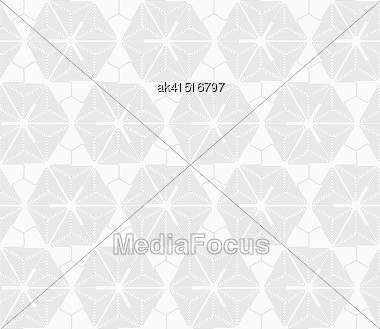 Gray Seamless Geometrical Pattern. Simple Monochrome Texture. Abstract Background.Slim Gray Triangle Spirals Forming Hexagons Stock Photo