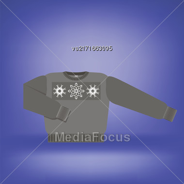 Gray Wool Sweater Isolated On Soft Blue Background Stock Photo