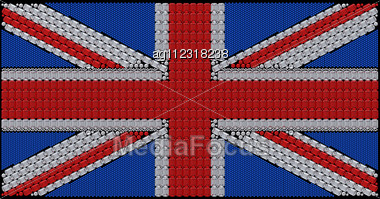 Great Britain Flag (Union Jack) Assembled Of Diamonds. Over Black. Extralarge Resolution. Other Gems Are In My Portfolio. Stock Photo