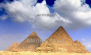 Great Pyramids, Located In Giza, The Pyramid Of Pharaoh Khufu, Khafre And Menkaure. Egypt. Panorama Stock Photo