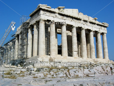 Greece Athens, The Most Sacred Places Of The Acropolis Stock Photo