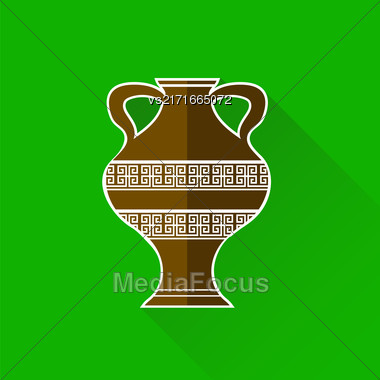 Greek Amphora Icon Isolated On Blue Background. Long Shadow Stock Photo