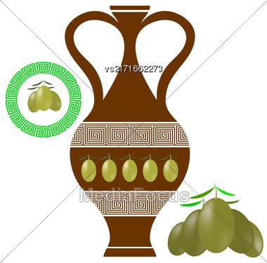 Greek Amphora Isolated On White Background. Olives Icon On White Background Stock Photo