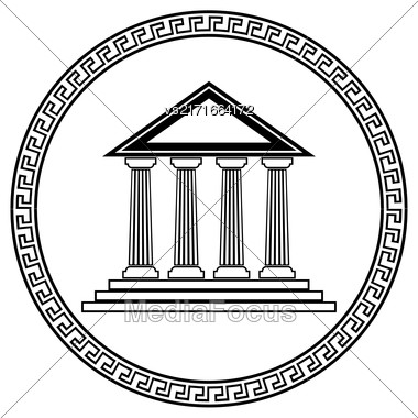 Greek Black Silhouette Temple Isolated On White Background Stock Photo