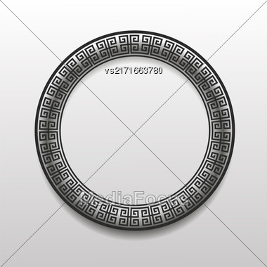 Greek Circle Frame Isolated On Grey Background Stock Photo