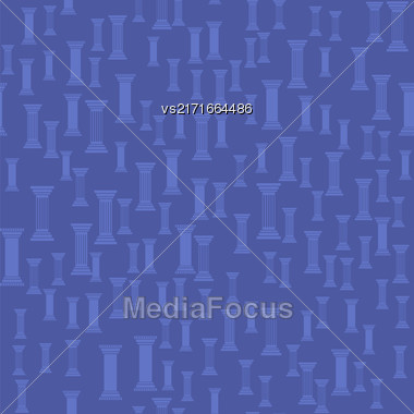 Greek Column Seamless Pattern On Blue Background Stock Photo
