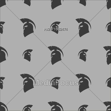 Greek Helmet Silhouette Seamless Pattern On Grey Background Stock Photo