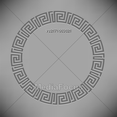 Greek Ornamenal Circle Frame Isolated On Grey Background Stock Photo