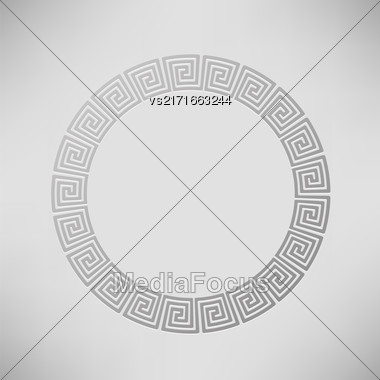 Greek Ornamental Circle Frame Isolated On Grey Background Stock Photo