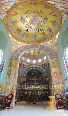 Greek Orthodox Church Of The Twelve Apostles In Capernaum Stock Photo