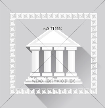 Greek Pillars Icon Isolated On Grey Background. Long Shadow Stock Photo