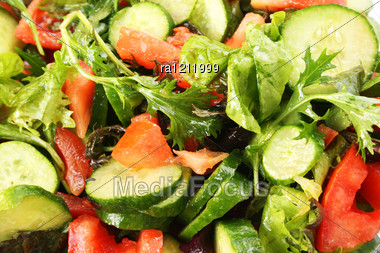 Greek Salad Close Up Picture. Stock Photo