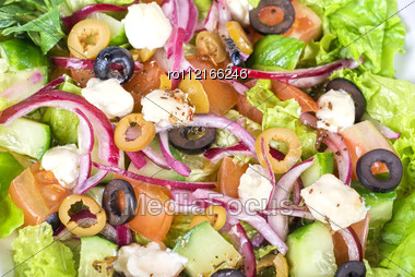 Greek Salad on Plate Closeup Stock Photo