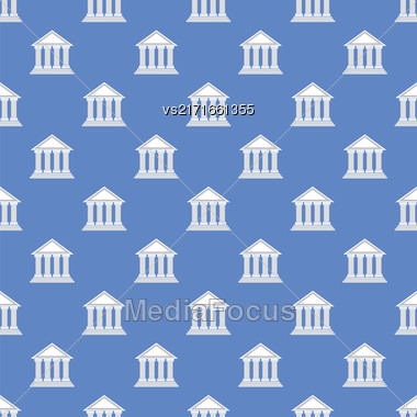 Greek Temple Icon Seamless Pattern On Blue Background Stock Photo