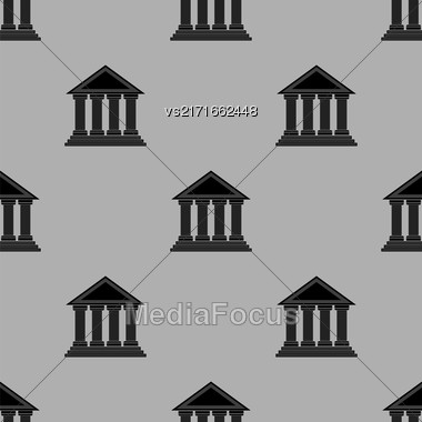 Greek Temple Icon Seamless Pattern On Grey Background Stock Photo