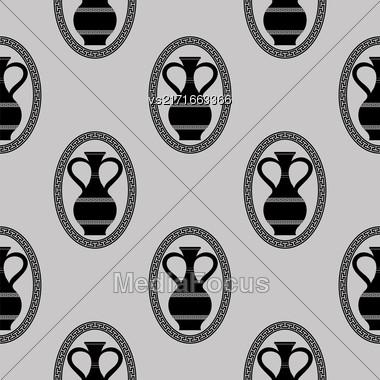 Greek Vase Seamless Pattern Isolated On Grey Background Stock Photo