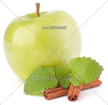 Green Apple, Cinnamon Sticks And Mint Leaves Still Life Isolated On White Cutout Stock Photo