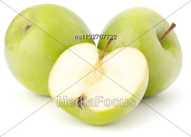Green Apple Isolated On White Background Cutout Stock Photo