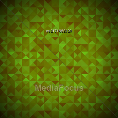 Green Background With Geometric Shapes, Triangles. Old Mosaic. Green-Mosaic-Banner. Geometric Hipster Green Pattern With Place For Your Text. Graphic Template Background Stock Photo